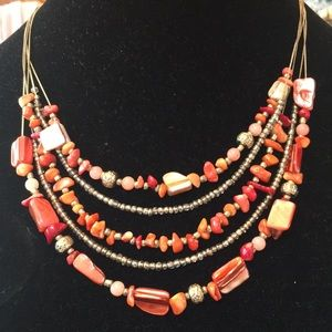 Jewelry - Gorgeous Coral Color Five Strand Necklace